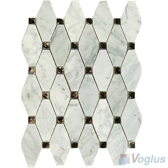 Carrara White Polished Elongated Shaped Marble Mosaic VS-PTG89