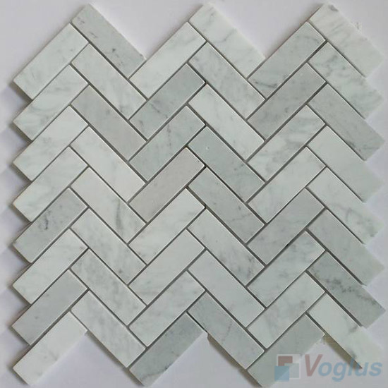 Carrara White Polished Herringbone Marble Mosaic Tile VS-PHB86
