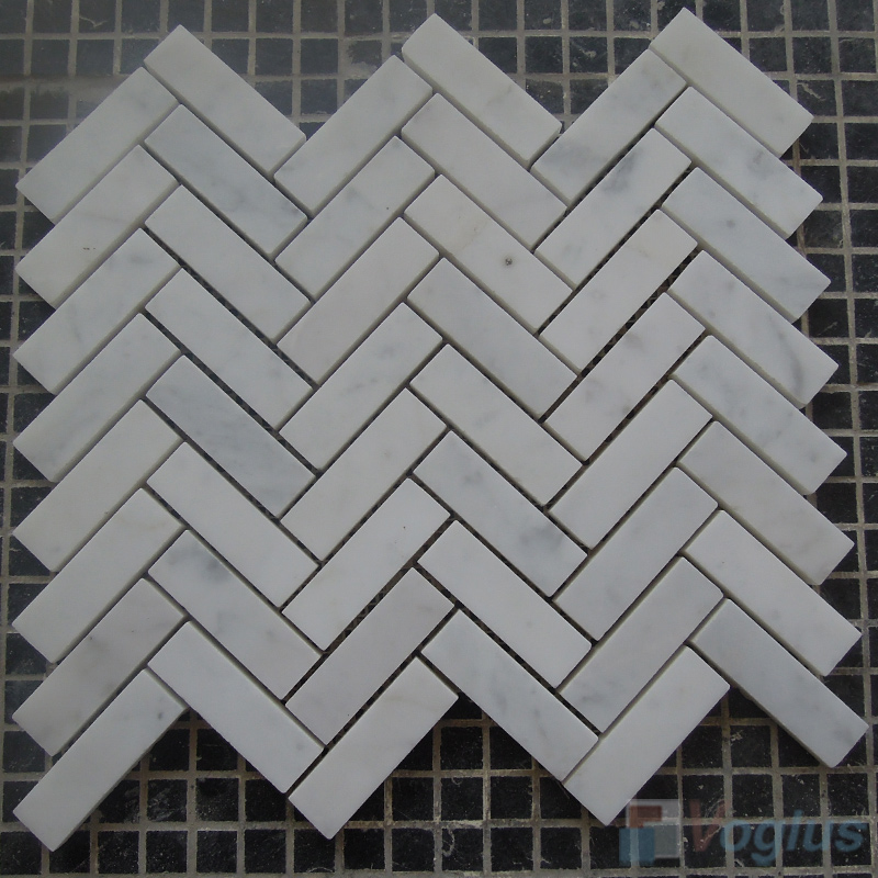 Carrara White Polished Herringbone Marble Mosaic VS-MCW86