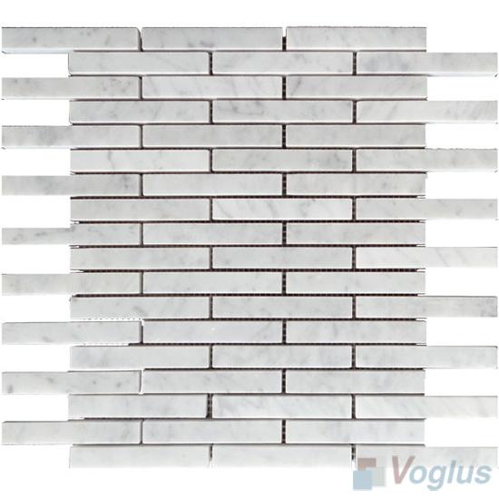 10sf Carrara White Marble Gray Glass Linear Mosaic Tile: Carrara White Polished Linear Strip Marble Mosaic VS-MCW80