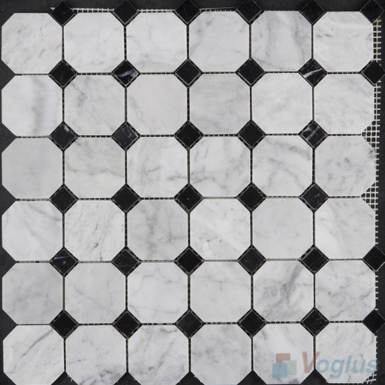 Carrara White Polished Octagon Marble Mosaic VS-MCW99