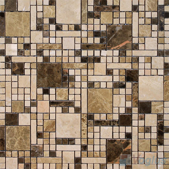 Cream Brown Polished Miscellaneous Marble Mosaic VS-PMG96