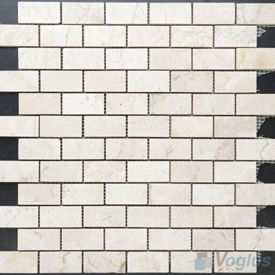 Cream Marfil Polished 1x2 inch Medium Brick Marble Mosaic VS-MCM88