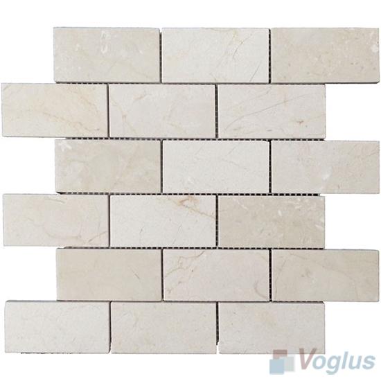 Cream Marfil Polished 2x4 inch Large Brick Marble Mosaic VS-MCM89