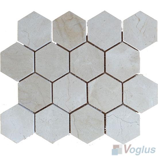Cream Marfil Polished 3 inch Hexagon Marble Mosaic VS-MCM93