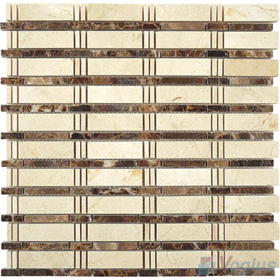 Cream Marfil Polished Bamboo Marble Mosaic Tile VS-PBB99