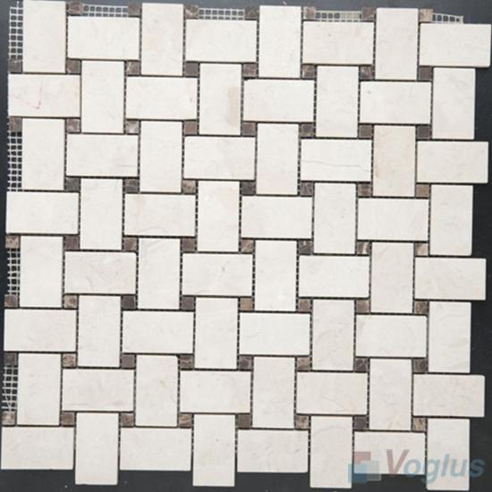Cream Marfil Polished Basket Weave Marble Mosaic VS-MCM95