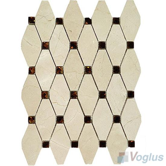 Cream Marfil Polished Elongated Shaped Marble Mosaic VS-PTG88