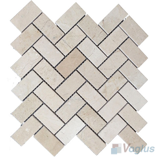 Cream Marfil Polished Herringbone Marble Mosaic VS-PHB94