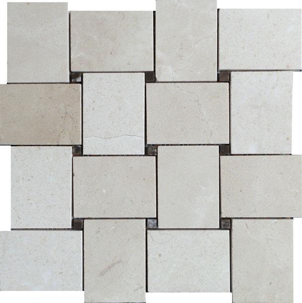 Cream Marfil Polished Large Basket Weave Marble Mosaic VS-MCM94