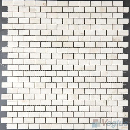 Cream Marfil Polished Mini Brick Marble Mosaic VS-MCM85