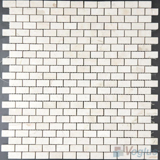 Cream Marfil Polished Mini Brick Marble Mosaic VS-PBK85