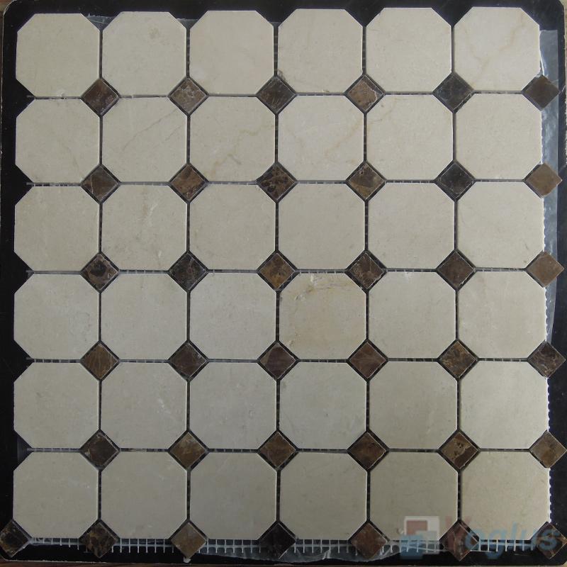 Crema Marfil Polished Octagon Marble Mosaic VS-MCM97