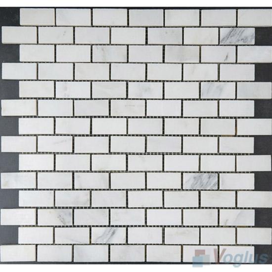Eastern White Polished 1x2 Brick Marble Mosaic VS-MEW88