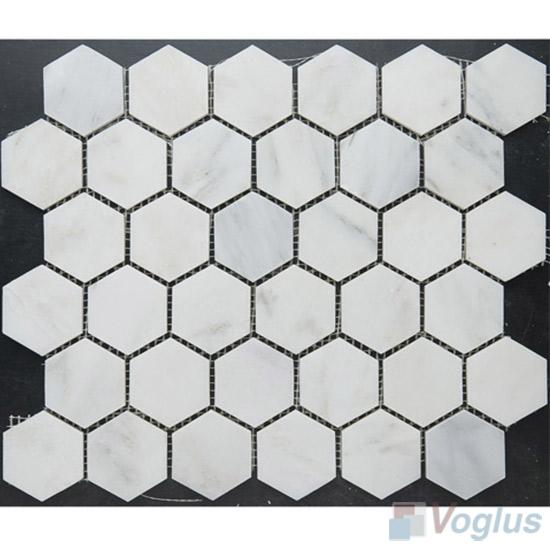 Eastern White Polished 2 inch Hexagon Marble Mosaic VS-MEW90