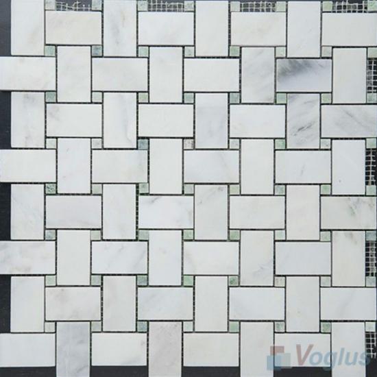 Eastern White Polished Basket Weave Marble Mosaic VS-MEW96