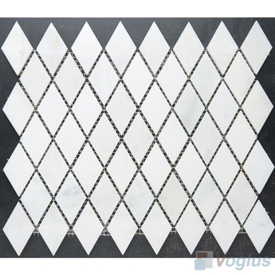 Eastern White Polished Diamond Shaped Marble Mosaic VS-MEW89