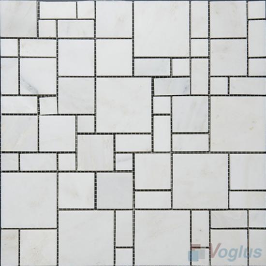 Eastern White Polished Magic Cube Marble Mosaic VS-MEW97
