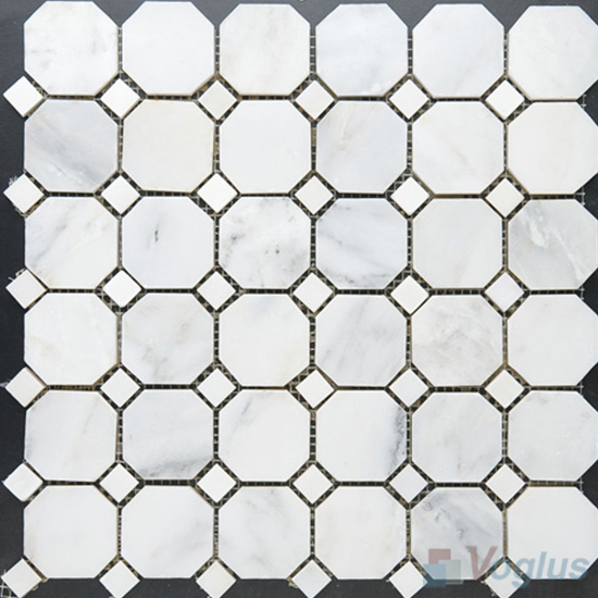 Eastern White Polished Octagon Marble Mosaic VS-MEW98