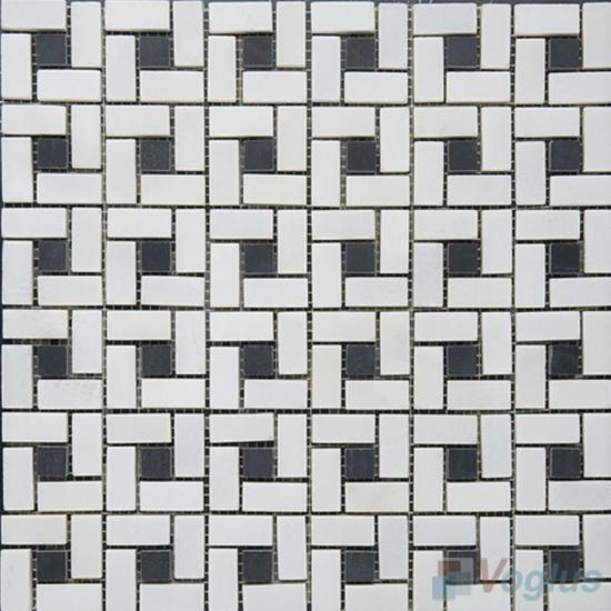 Eastern White Polished Pinwheel Marble Mosaic VS-MEW94