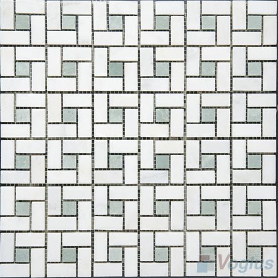 Eastern White Polished Pinwheel Marble Mosaic VS-MEW95