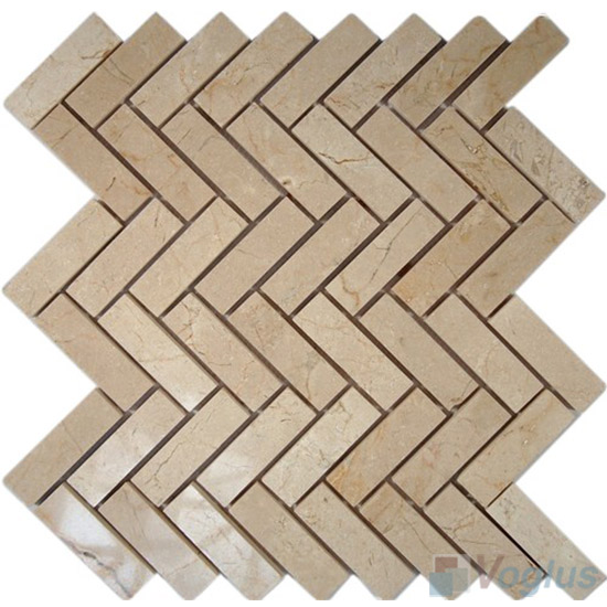 Egypt Beige Polished Herringbone Marble Mosaic VS-PHB92