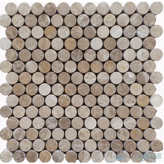 Emperador Light Honed Circle Round Shaped Marble Mosaic VS-MLE94
