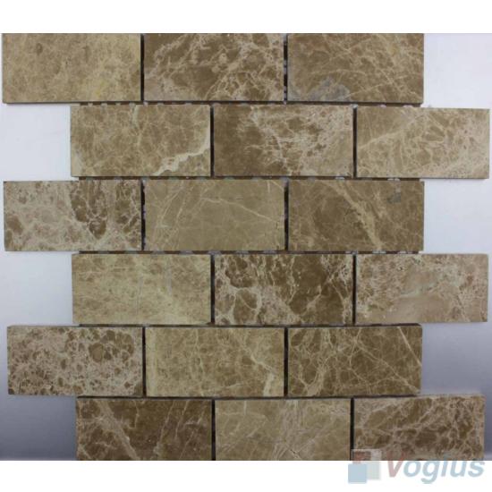 Emperador Light Polished 2x4 inch Large Brick Marble Mosaic VS-MLE95