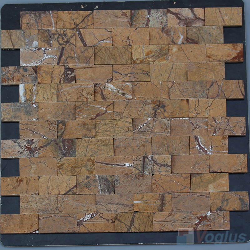 Forest Coffee 1x2 inch Brick Natural Split Face Marble Mosaic VS-STM97