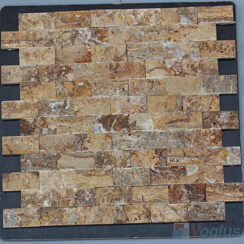 French Gold 1x2 inch Brick Natural Split Face Marble Mosaic VS-STM96