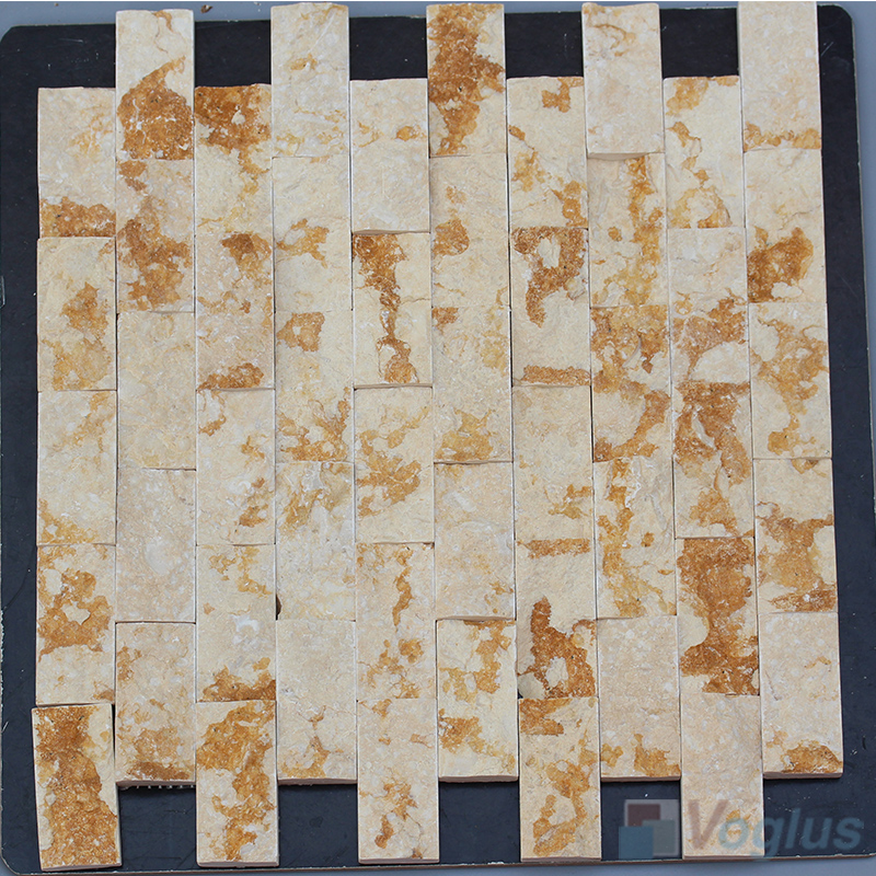 Gold Splender 1x2 inch Brick Natural Split Face Marble Mosaic VS-STM99