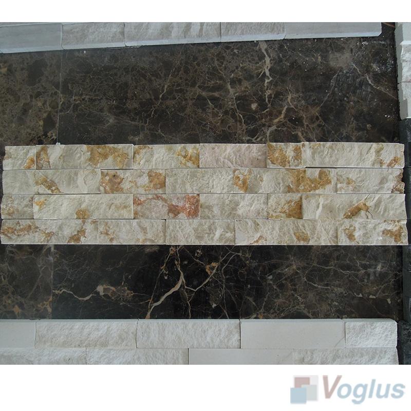 Gold Splender Natural Split Face Culture Stacked Stone Marble Mosaic VS-STT99