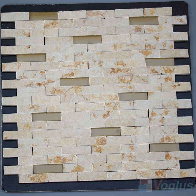 Gold Splender Subway Natural Split Face Stone Mosaic Tile VS-STM90