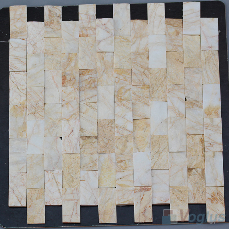 Golded Spider 1x2 inch Brick Natural Split Face Marble Mosaic VS-STM98