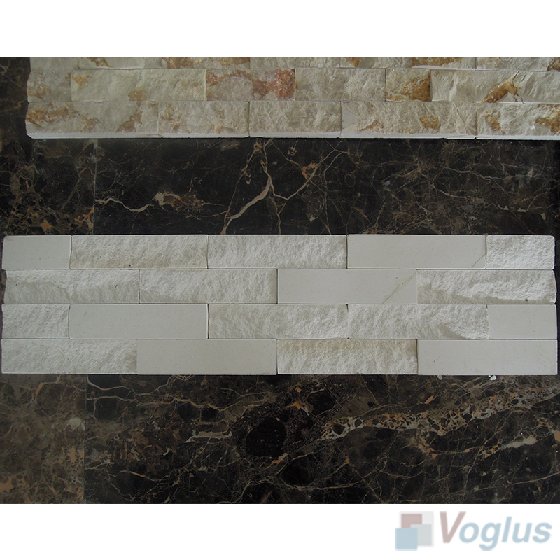 Gray Natural Split Face Culture Stacked Stone Marble Mosaic VS-STT98