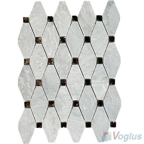 Gray Polished Elongated Shaped Marble Mosaic VS-PTG86