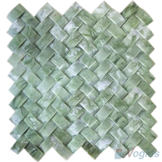 Green Onyx Braided Pattern Marble Mosaic VS-PBD98