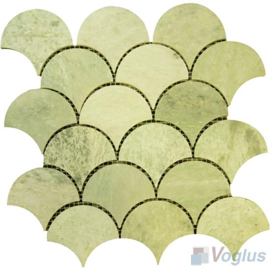 Green Polished Fish Scale Fan Shaped Marble Mosaic Tile VS-PFN91