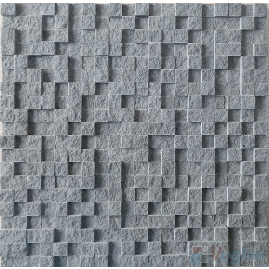 High Low Breakfront Basalt Stone Mosaic VS-BS91