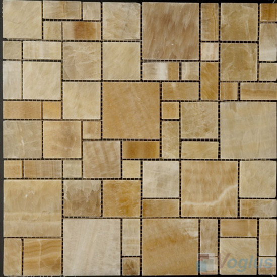 Honey Onyx  Polished Magic Cube Marble Mosaic VS-PMG97