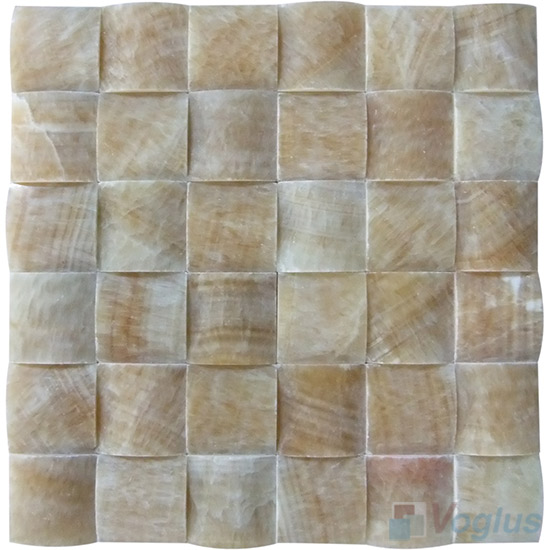 Honey Onyx Medium Camber Bread 3D Stone Mosaic VS-PCB93
