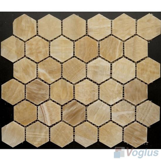Honey Onyx Polished 2 inch Hexagonal Shaped Stone Mosaic VS-PHX86