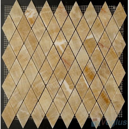 Honey Onyx Polished Diamond Shaped Stone Mosaic VS-PDM90