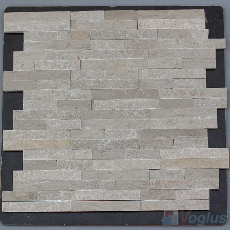 Linear Wooden Gray Natural Split Face Stone Mosaic VS-STM86
