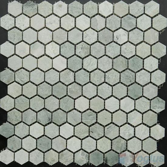 Ming Green Polished 1 inch Small Hexagon Marble Mosaic VS-MMG97