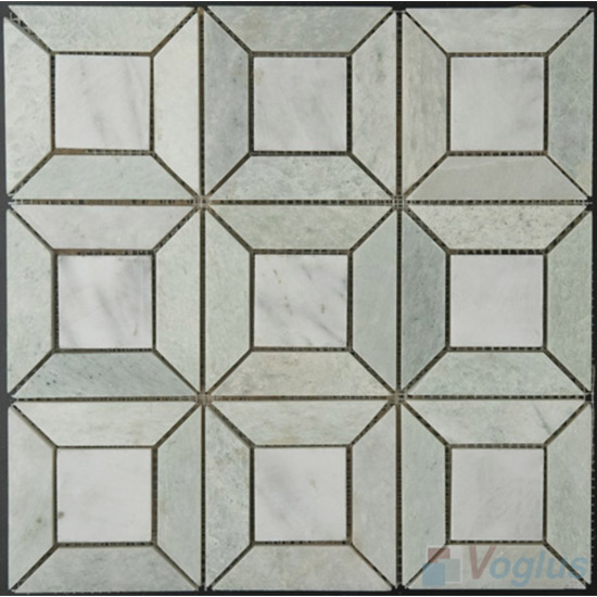 Ming Green Polished Big Pinwheel Stone Mosaic VS-PPW91