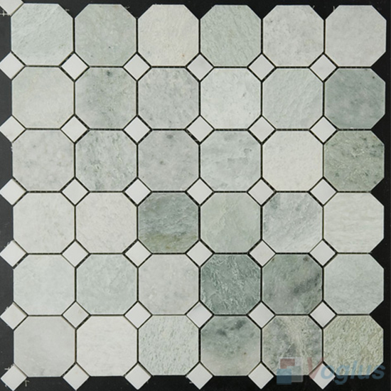Ming Green Polished Octagon Marble Mosaic VS-MMG98