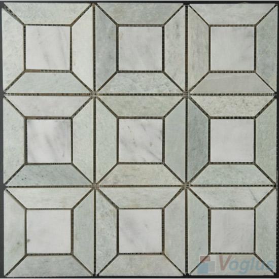 Ming Green Polished Pinwheel Marble Mosaic VS-MMG92
