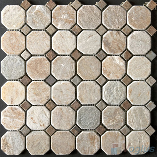 Octagon With Dot Quartz Stone Mosaic VS-Q92