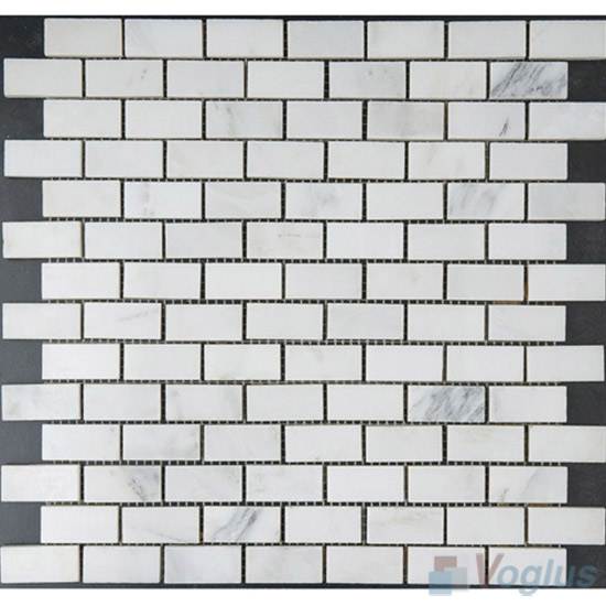 Orient White Polished 1x2 inch Brick Marble Mosaic VS-PBK87